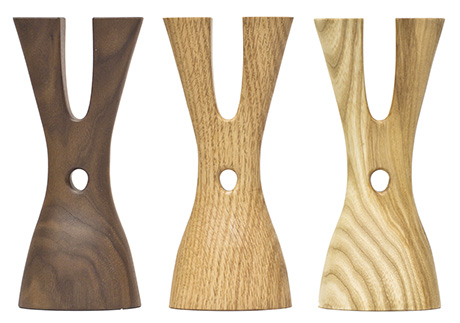 handcrafted wooden candle holders