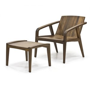 wooden chair with ottoman