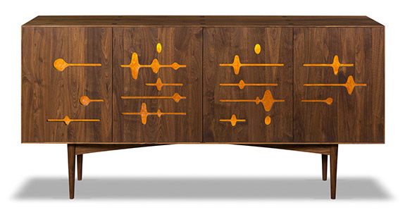 console and solid walnut cabinet front