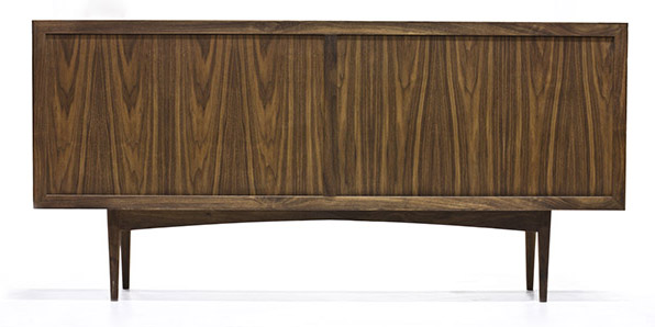 console and solid walnut cabinet back