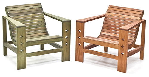 two mahogany outdoor chairs