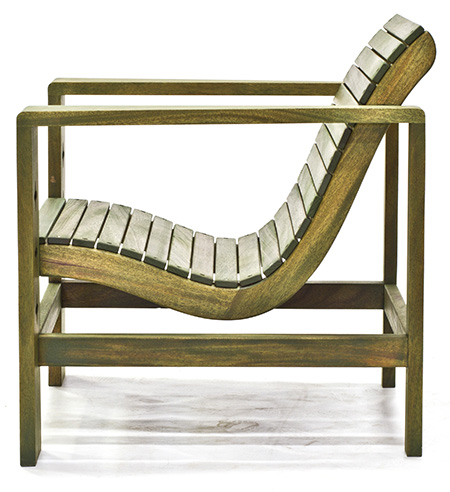 mahogany outdoor chair green side