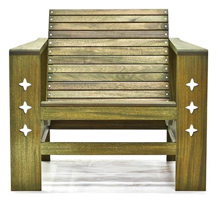 mahogany outdoor chair green