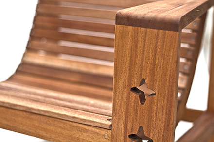 mahogany outdoor chair close